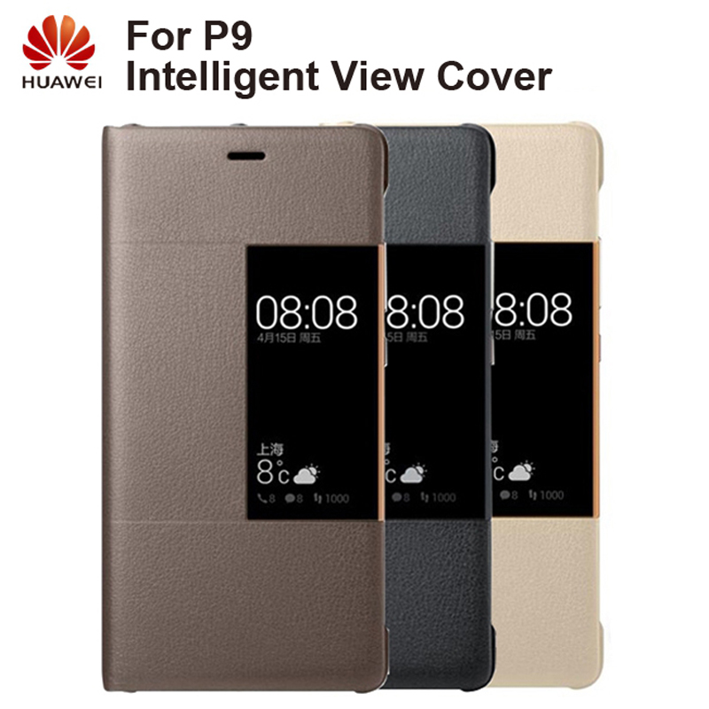 Huawei Original Smart Phone Case View Cover Flip Case For Huawei P9 Housing Sleep Function intelligent Phone Case in Flip Cases from Cellphones Telecommunications