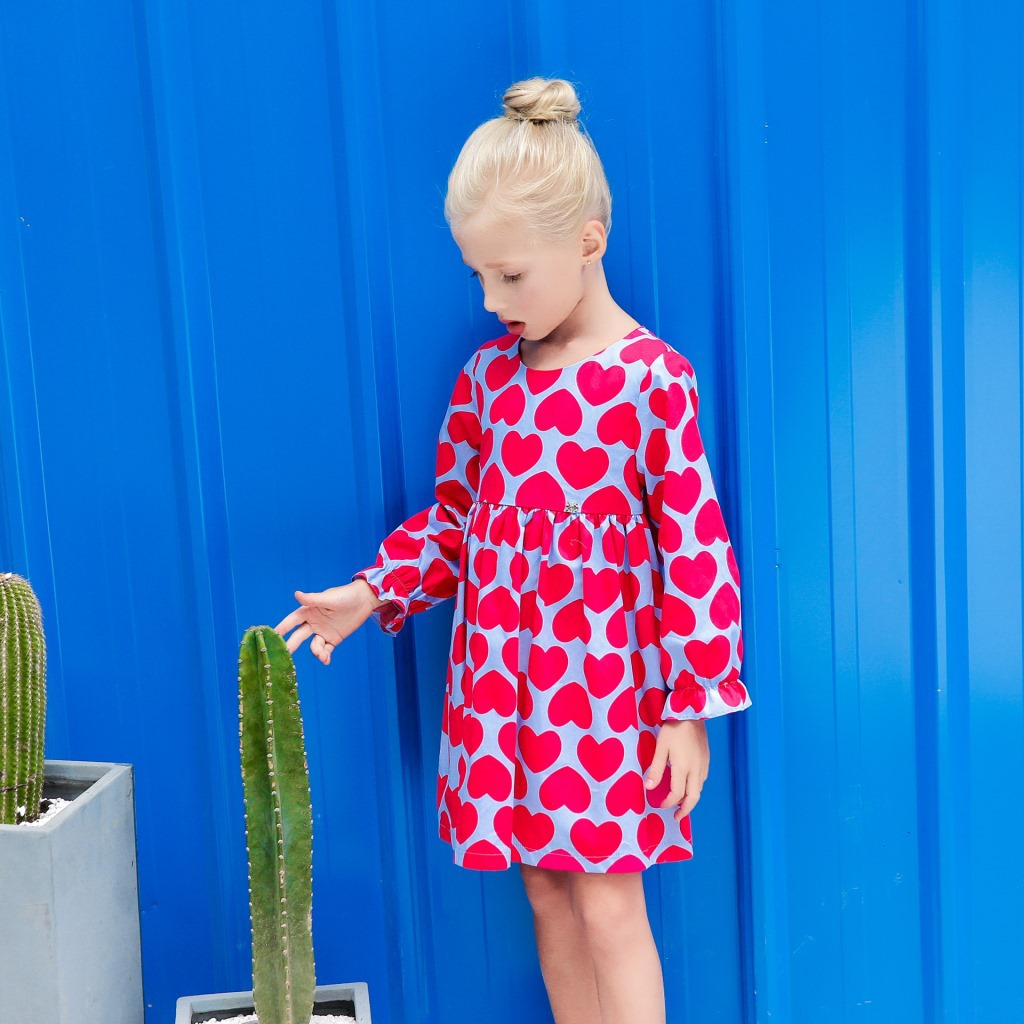 3acb679157 spring new children girl dress print red heart princess pure cotton long  sleeve dressy blouse-in Dresses from Mother   Kids on Aliexpress.com