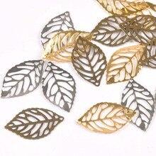 50 шт. металлические изделия филигранные листья обертывания соединители украшения для DIY домашнего декора ручной работы Скрапбукинг 23x14 мм YK0751