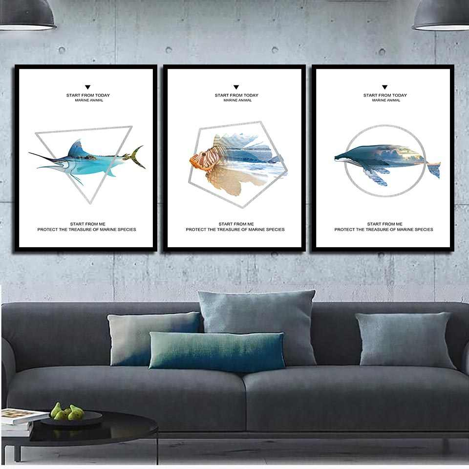 Nordic Style Pictures Abstract Marine Fish Geometric Letters Canvas Poster Modern Art Prints Whale Painting Kids Room Wall Decor