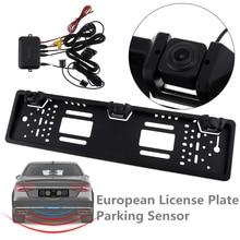 Car Rear View Camera HD CCD 170 Degree Auto Parktronic EU Car License Plate Frame with 2 Visual Reversing Radar Detector Backup