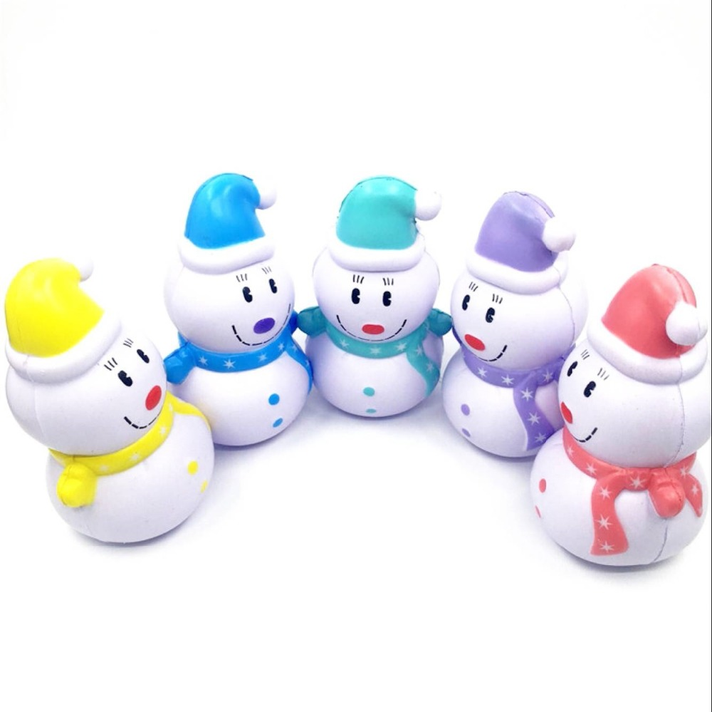 Smile Snowman Jumbo Squishy Toys Kawaii Anti-stress Slow Rising Toy Christmas style Squeeze Stress Relief Novelty Squishi Gift