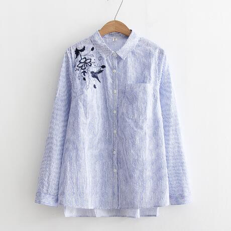 Spring Autumn Blue Stripe Top Blusas New Fashion Women Flower Embroidered  Cotton Blouse Womens Tops and Blouses Clothing on Aliexpress.com | Alibaba  Group