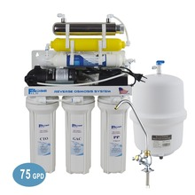 Household 7 Stage Undersink Reverse Osmosis System with 6W UV Sterlizer/220V/Europe two-pin plug - 75GPD