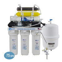 7 Stage Under Sink Ultraviolet Reverse Osmosis Drinking Water Filter System with Remineralization Filter 75GPD//220 240V