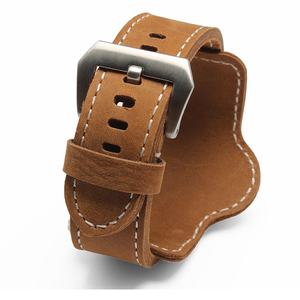 Image 1 - 20mm 22mm 24mm 26mm Quality Cuff Bracelet watch Strap Leather Watchband Black Brown Decorative Style Belt For Mens