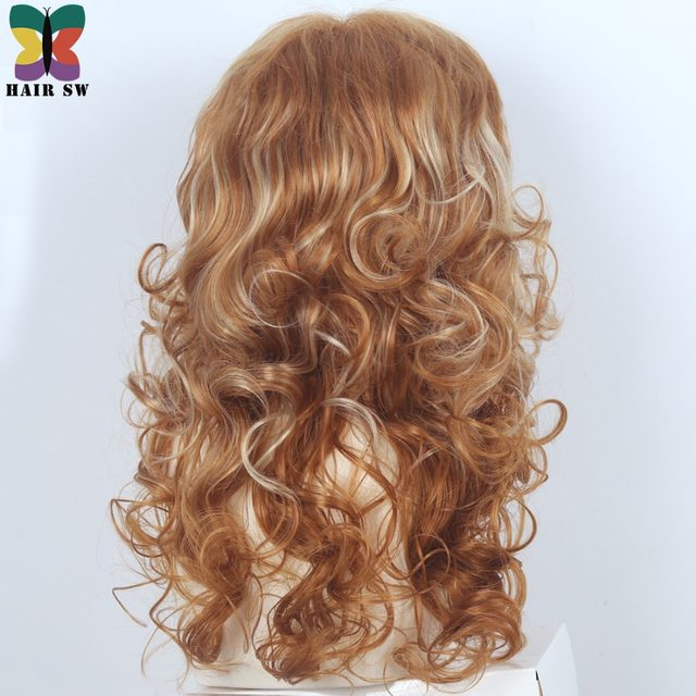 Online Shop Hair Sw Long Curly Synthetic Wig Reddish Brown Mixed