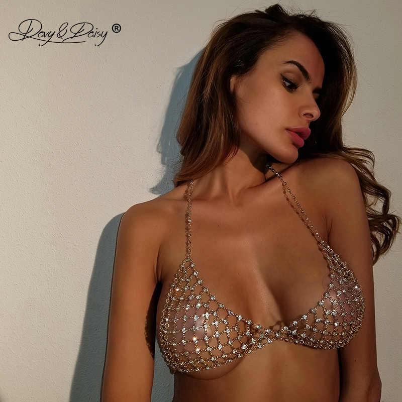 DAVYDAISY-soutien-gorge avec chaîne pour femmes, Sexy, soutien-gorge avec strass en cristal, pour femmes, Lingerie, haut court, sous-vêtements érotique, BR002