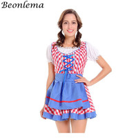 Beonlema Sissy Maid Dress Role Playing Suits Clothes Kawaii Women Cosplay Costume Lace White Tops Red Blue Sundress With Apron