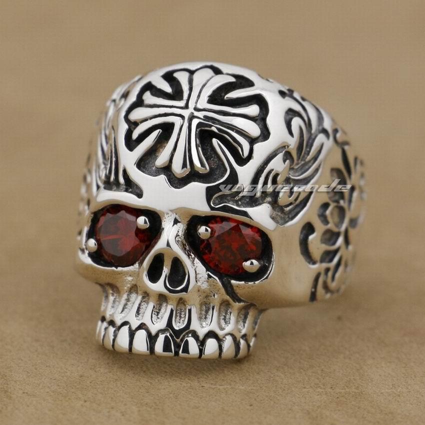 925 Sterling Silver Ruby Eyes Cross Skull Mens Biker Ring 8T013 - voguecode store