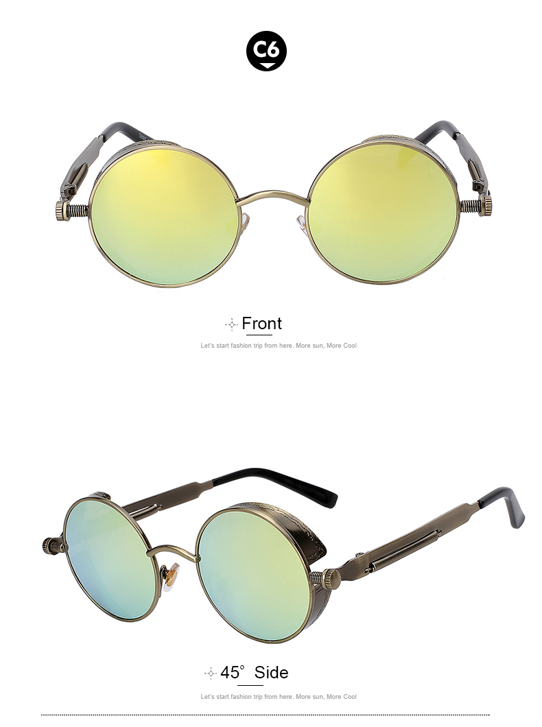 Round Retro Steampunk Metal Sunglasses - C6