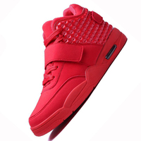 2016 New Fashion Autumn Winter Men Women Casual Shoes Red Suede Leather Men High Top Casual