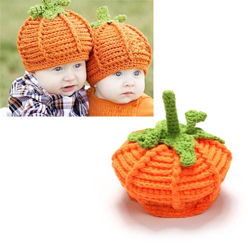 17 Cute Halloween Baby Hat Newborn Baby Pumpkin Cap Knit Hat Costume Photography Prop Dropshipping AG02 6