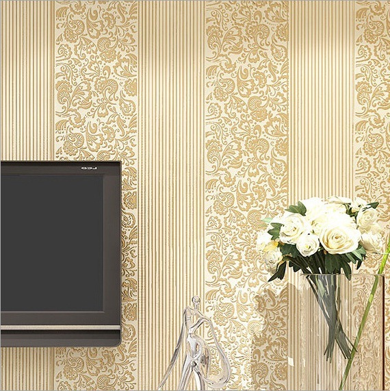 6202 Luxury Italian Stripe Wallpapernon Woven Wall Paper For Living
