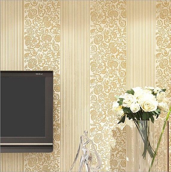 #6202 Luxus italienischen streifen tapete, vlies tapeten für Wohnzimmer schlafzimmer, cremefarben Schlafzimmer tapete in #6202- Luxus italienischen ...