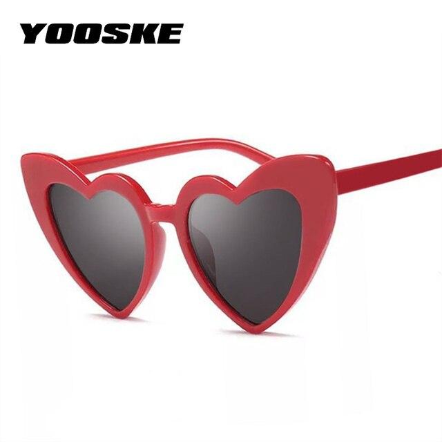 f201bcb6c YOOSKE الحب القلب النظارات الشمسية النساء القط العين خمر نظارات شمسية هدية  الكريسماس القلب شكل نظارة