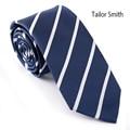 Tailor Smith Men Classical Navy Blue Slim Striped Necktie 100% Microfiber Business Wedding Dress Skinny Tie Stripes Pretty