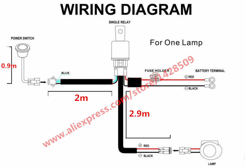 1 Lead 1 Car Automobile Led Spotlight Wiring Harness Kit 12v With Fuse Relay On Off Switch Use For Offroad Driving Hid Light Wiring Harness Light Relay Kit Harness Wire Aliexpress