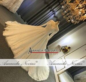 Image 3 - 2019 gelinlik abito da sposa maniche lunghe con il pieno di cristallo abito da sposa reale di lavoro