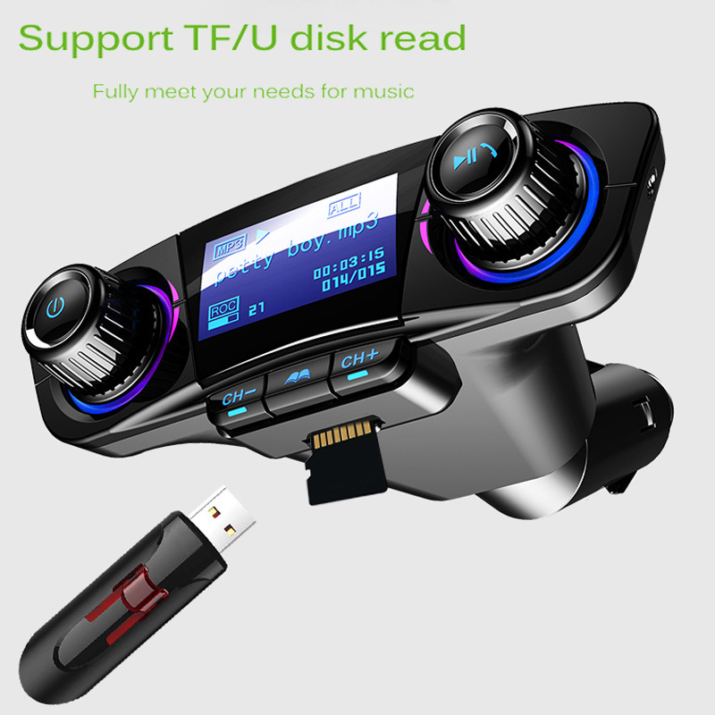 Car Aux Bluetooth Handsfree Kit Fm Transmitter LCD MP3 Player Dual USB Charger 2.1A TF Card U Disk Hands Free Car Kit