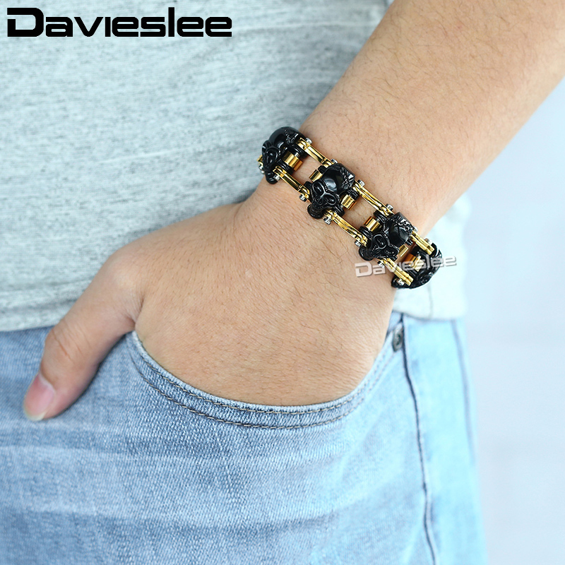 Bracelet homme Davieslee Punk noir crâne or chaîne de vélo Bracelet acier inoxydable 316L bijoux homme livraison directe 18mm LHB373