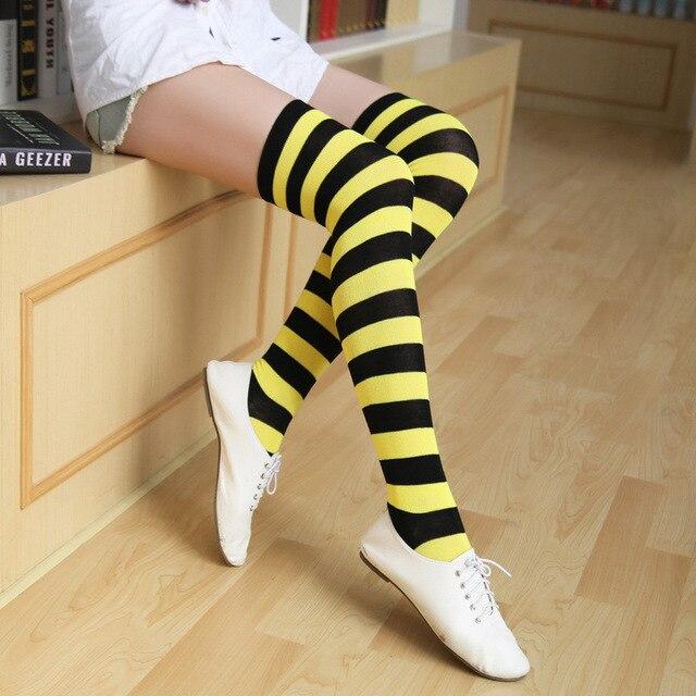 Bunte Sexy Gestreiften Kompression Strümpfe Frauen Über Knie Socken Mädchen Socken Lange Körper Mode Weibliche Oberschenkel Hohe Socken