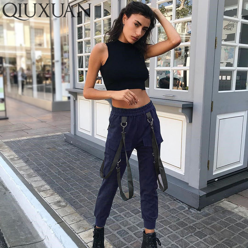 Qiuxuan Streetwear Navy Blue Black Casual Cargo   Pants     Capris   Women High Wais Elastict Joggers Buttons Fashion Sweater Trousers