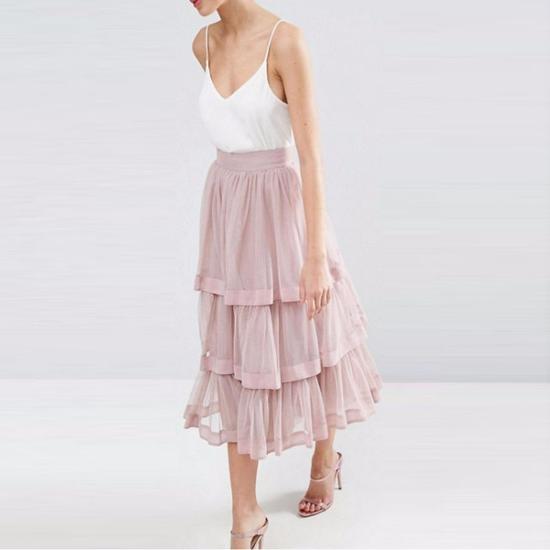 Fashion High Waist Tulle Skirt A Line Tiered Ankle Length High Quality saias na altura do joelho Custom Made Women Clothing