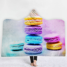 Macaron Hooded Blanket For Adults Kids 3D Printed Soft Sherpa Fleece Wearable Warm Throw Home Travel Picnic