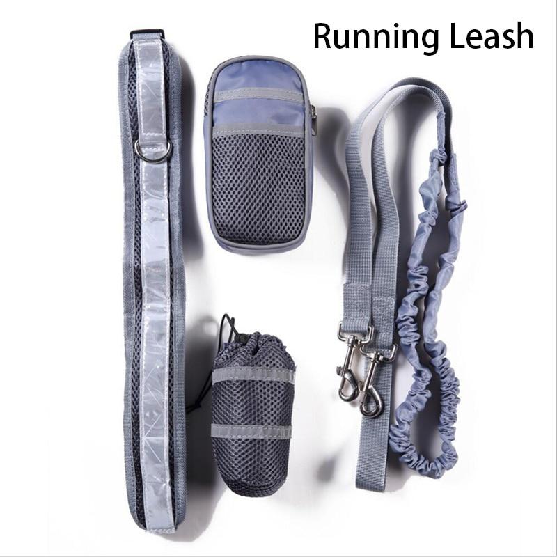 Dog Leashes Running Jogging Puppy Lead Collar bag Sport Waist Leash French Bulldog Long Rope Dog Collar dog training Accessories