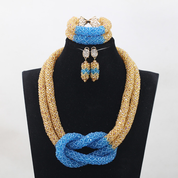 Exclusive Royal Blue African Wedding Bride Beads Jewelry Set Yellos Nigerian Women Anniversary Party Jewelry Set Free Ship QW882