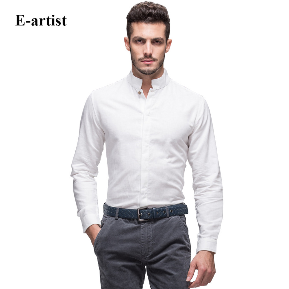E artist men 39 s slim fit business casual linen cotton dress for Men s trim fit dress shirts