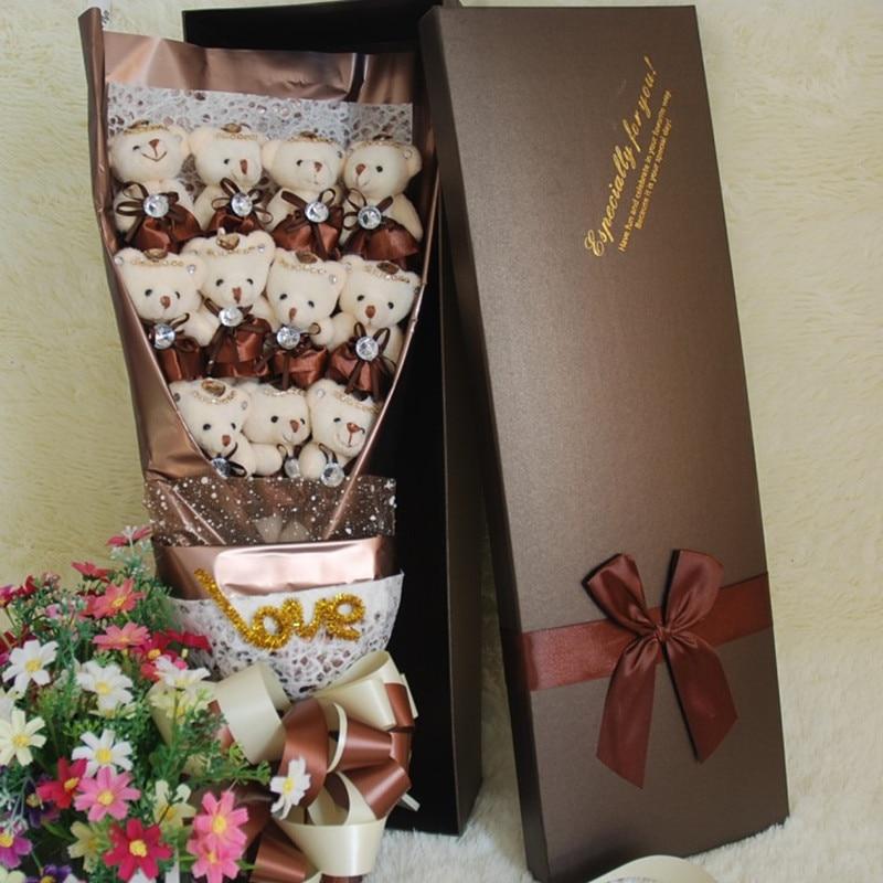 11Pcs New 2017 Handmade Teddy Bear Bouquet Flower Wedding Soft Plush Toy Bouquet Cartoon Doll Fake Rose Love Gift wedding teddy bear 36 cm mr lin wedding bear forever love