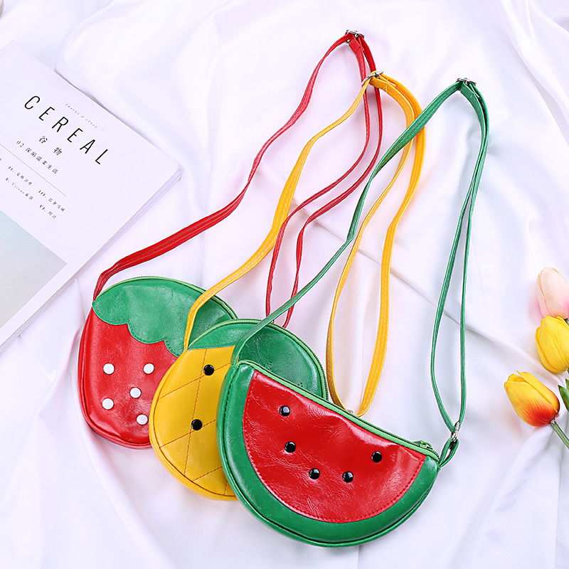 Cartoon Fruit Bag Kids Girls Mini Coin Wallet Pouch Strawberry/watermelon/pineapple Money Change Purse Baby Boy Crossbody Bags