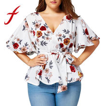 155119fc5 (Ship from US) Feitong Women s Blouse Plus Size Sexy V Neck Floral Print  Flare Sleeve Belted Surplice Peplum Tops And Blouse blusas feminina
