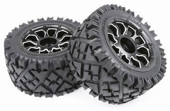 Rc car all terrain rear tires w/ Aluminum alloy wheel hub assembly for 1:5 scale HPI RACING baja 5B 5T SC LOSI TDBX MCD toys car