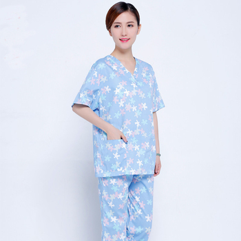 New Arrival Pattern Print Design Hospital Scrub Sets Short Sleeve Summer Medical Gowns Surgical Clothes Suits Hospital Uniforms