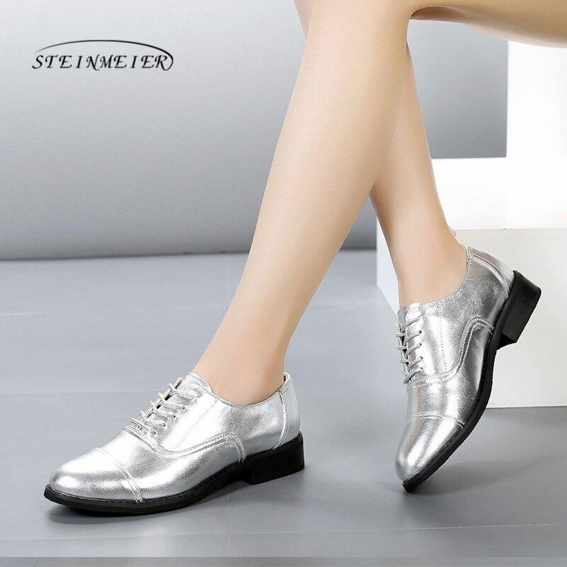 47b402e3b Sapatas da mola mulheres Apartamentos Oxford Sapatilhas De Couro Mulher  Senhoras de ouro Sapatos Oxfords Brogues