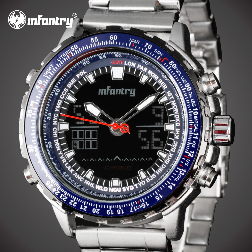 INFANTRY Men's Fashion Blue Dial Digital Watches Full Steel LED Display Sport Watch Chronograph Luminous Clock relogio masculino weide popular brand new fashion digital led watch men waterproof sport watches man white dial stainless steel relogio masculino