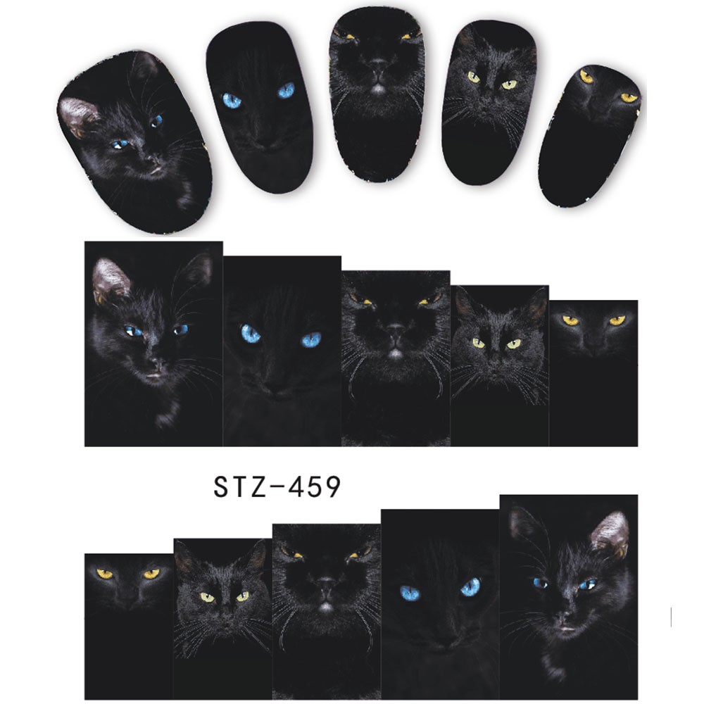 1 Sheet Animal Black Cat Designs Nail Art Stickers Water Transfer Nail Tips Decal DIY Accessory Beauty Nail Decorations LASTZ459 zko 1 sheet chic pink flower designs nail sticker water decals nail art water transfer stickers for nails 8087