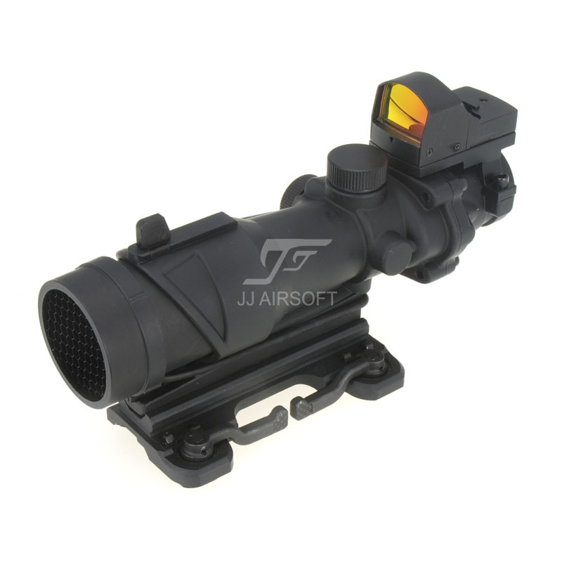 JJ Airsoft ACOG Style 4x32 Scope with Docter Mini Red Dot Light Sensor&QD Mount & Killflash Kill / Flash (Black) FREE SHIPPING jj airsoft micro 1x24 red dot with killflash kill flash