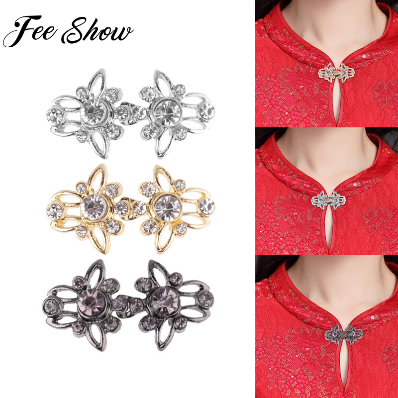 Fashion Women Decorative Shiny Crystal Cape Cloak Clasps Fasteners Buckle Brooch Clip Vintage Cardigan Collar Clips Holder