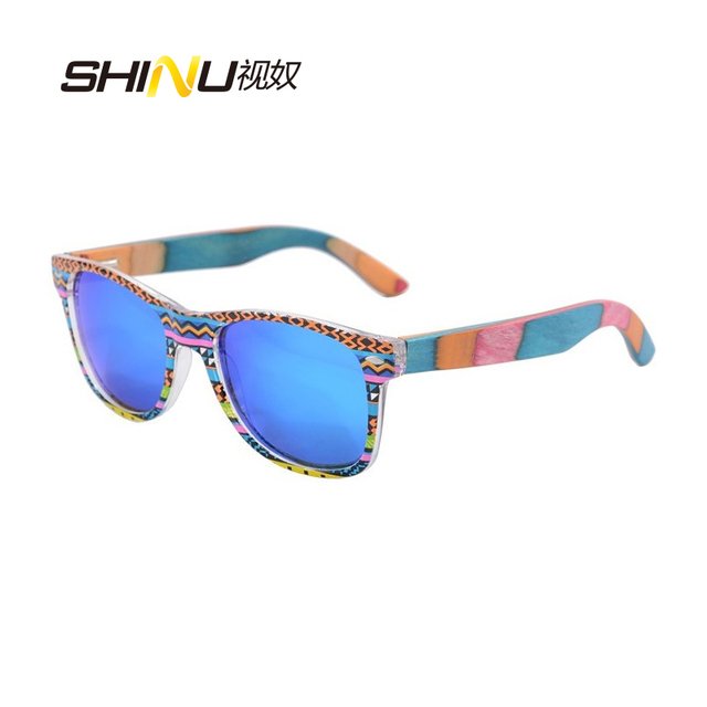 SHINU brand wood Sunglasses polarized skatboard  bamboo glasses Fashion Mirror Coating Eyewear Shade Lunette De Soleil 6026