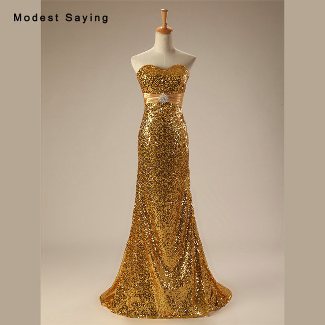 Sexy Shiny Gold Mermaid Sweetheart Sequined Evening Dresses 2017 Summer  Girls Long Burgundy Party Prom Gowns