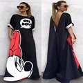 2016 Women Maxi Summer Dress Cartoon Mickey Print Floral Loose Ladies Dress Backless Hollow Out Casual Robe Longue Plus CC8023
