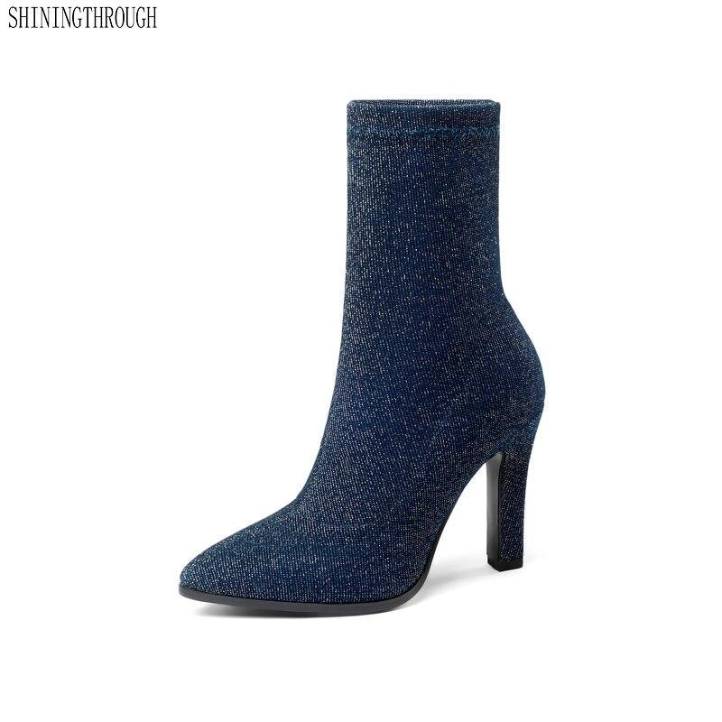 2019 Women Shoes high Heel Fashion Winter autumn High Heel Boots Pointed Toe Stretch Fabric Platform Women Boots Size 34-43