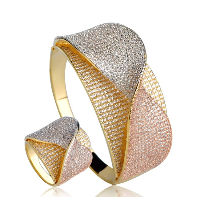 Dazz Unique Two Tones Copper Jewelry Set Statement Knot Cuff Bangle Ring African Beads Cubic Zircon Women Wedding Jewelry