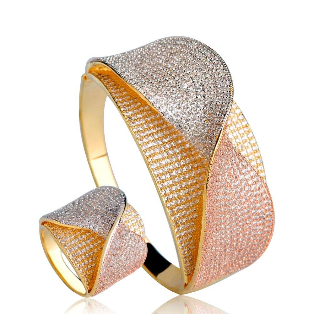 Dazz Unique deux tons cuivre bijoux ensemble déclaration noeud manchette bracelet anneau perles africaines cubique Zircon femmes bijoux de mariage