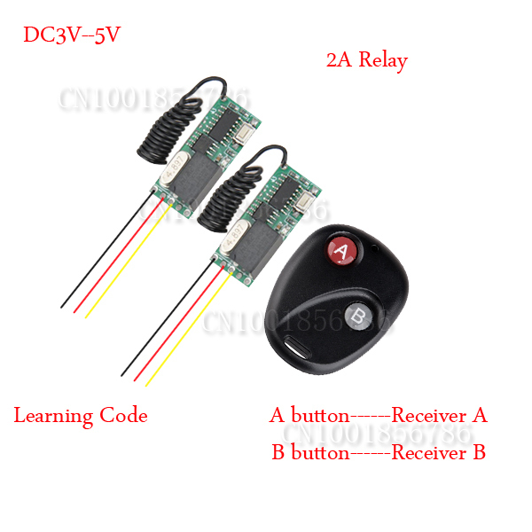 Mini Remote Control Switch System Micro DC3V-5V 2A Relay 2*Receiver Transmitter Momentary Toggle Latched Learn 315/433 dc3v 3 7v 5v 6v 7v 9v 12v mini relay wireless switch remote control power led lamp controller micro receiver transmitter system