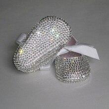 На заказ сверкающие Соска из swal Кристаллы Стразы детская обувь Младенческая От 0 до 1 года лента принцесса атласная Белла балерина обувь